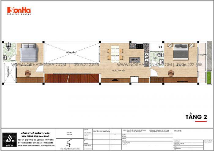 Bản vẽ chi tiết công năng tầng 2 nhà ống hiện đại 3,86m x 22,85m tại Hải Phòng