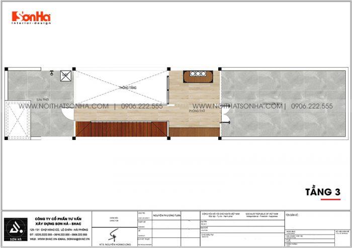 Bản vẽ chi tiết công năng tầng 3 nhà ống hiện đại 3,86m x 22,85m tại Hải Phòng