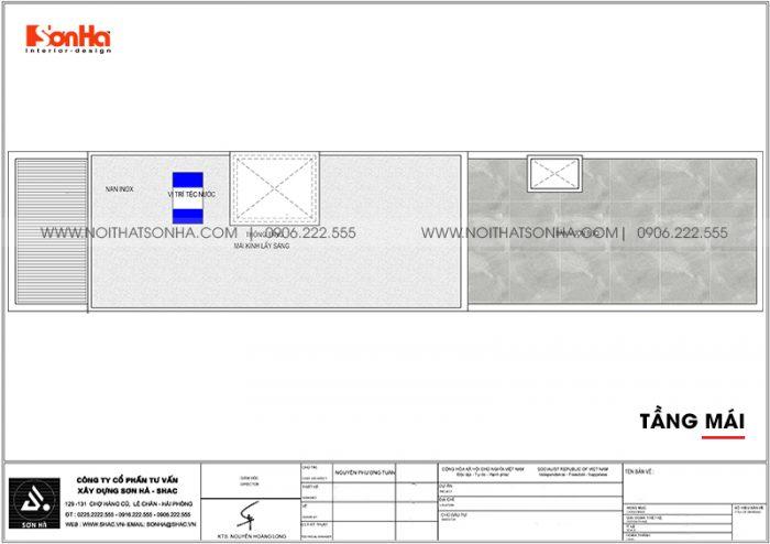 Bản vẽ chi tiết công năng tầng mái nhà ống hiện đại 3,86m x 22,85m tại Hải Phòng