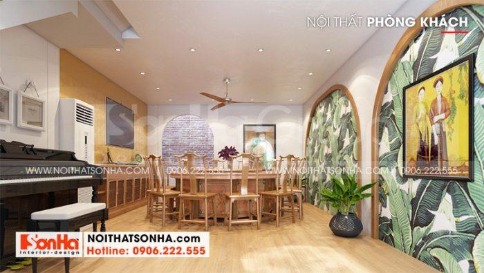 Không gian phòng khách với thiết kế nội thất hiện đại, kết hợp màu sắc hài hòa theo đúng nguyện vọng của gia chủ