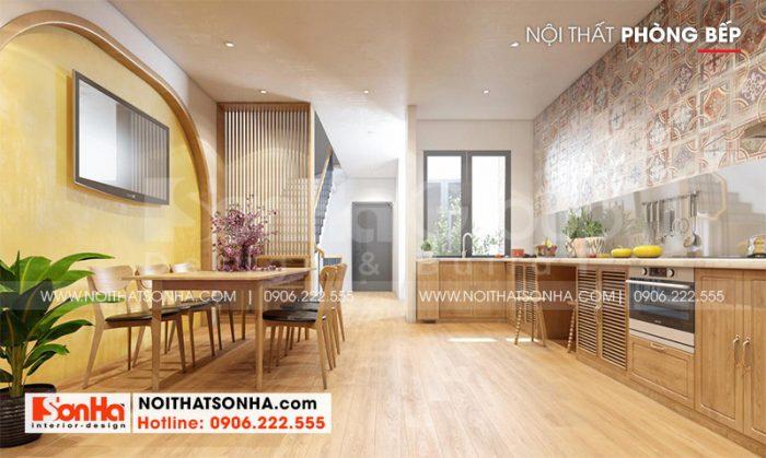Thiết kế nội thất phòng bếp ăn hiện đại với đảo bàn tiện nghi tạo sự thuận tiện cho người sử dụng