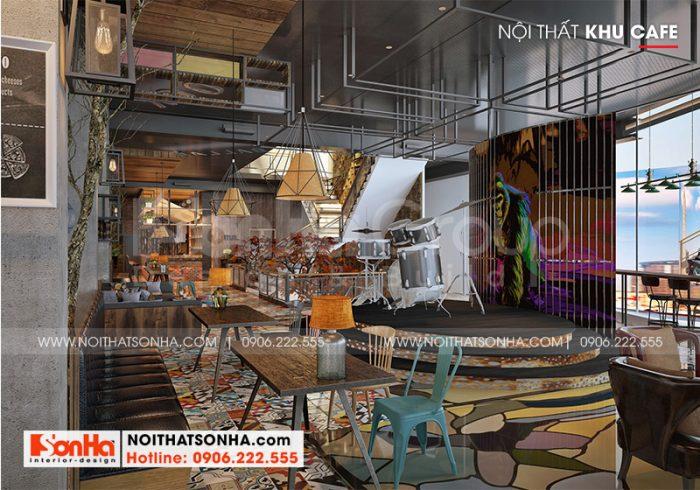 Không gian cafe với cách sắp xếp bàn ghế ăn vô cùng độc đáo với thiết kế nội thất hiện đại độc đáo