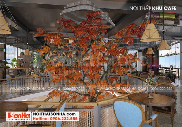 Mọi không gian của khu cafe đều được lên ý tưởng thiết kế nội thất đẹp, đồng bộ