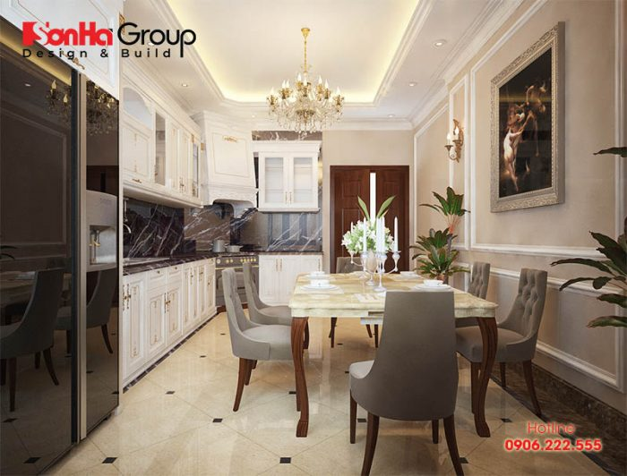 Còn đây là mẫu phòng bếp ăn đẹp, tiện nghi thiết kế mang phong cách tân cổ điển sang trọng