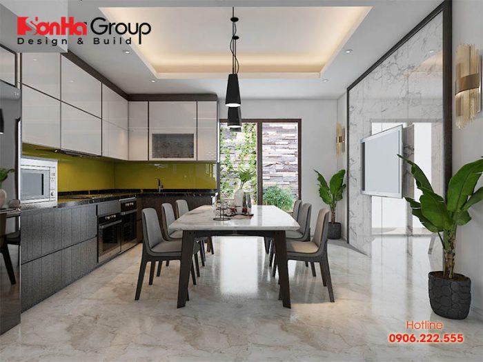 Trang trí phòng bếp ăn hiện đại, thông thoáng phù hợp cho nhà ống có diện tích rộng