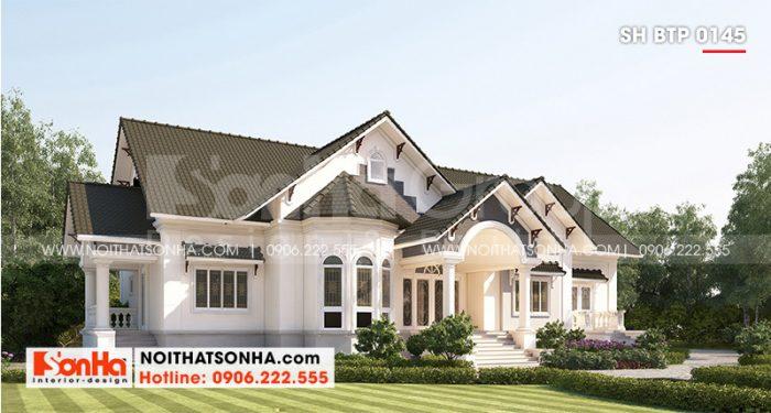 Kiến trúc giản dị của mẫu thiết kế biệt thự mái thái đẹp phong cách hiện đại diện tích sàn 357,25m2