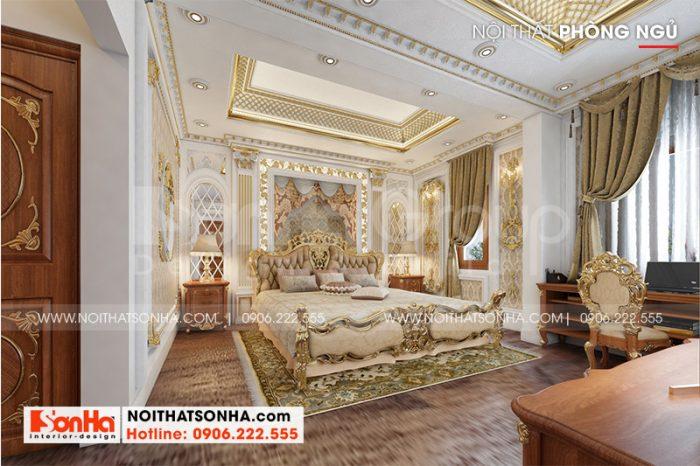 Thiết kế nội thất phòng ngủ đẹp với phong cách tân cổ điển ấm cúng, trang nhã dành cho vợ chồng gia chủ