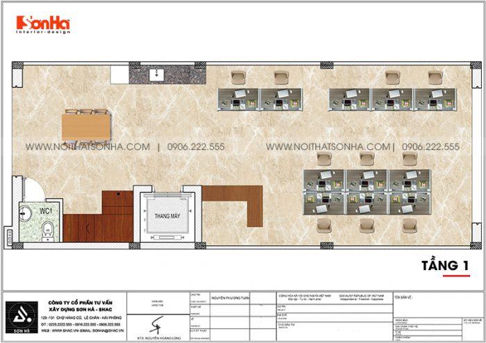 Bản vẽ công năng tầng 1 nhà phố liền kề diện tích 6m x 15,26m tại KĐT Waterfront City Hải Phòng