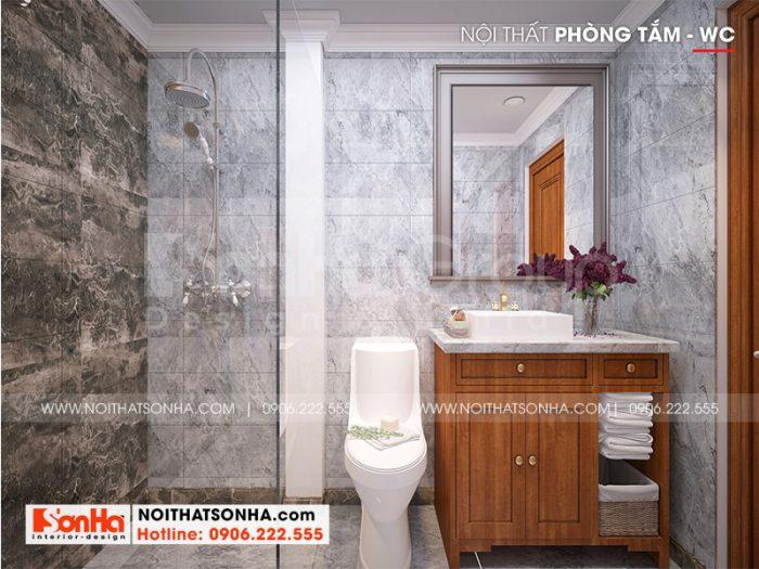 Mẫu nội thất phòng tắm – wc biệt thự tân cổ điển mái thái tại Vĩnh Long