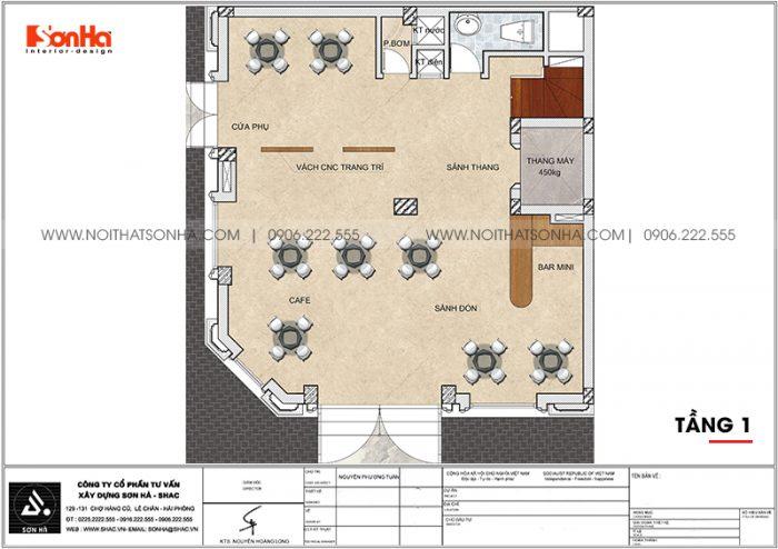Bản vẽ chi tiết công năng tầng 1 khách sạn tân cổ điển mini 2 sao tại Quảng Ninh