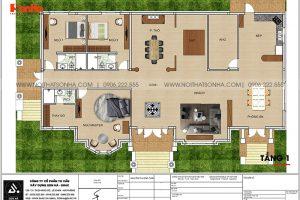 13 Mặt bằng tầng 1 biệt thự mái thái kiểu tân cổ điển tại vĩnh long sh btp 0145