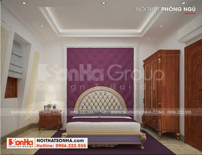 Không gian phòng ngủ biệt thự đẹp tinh tế với thiết kế nội thất tân cổ điển nhẹ nhàng