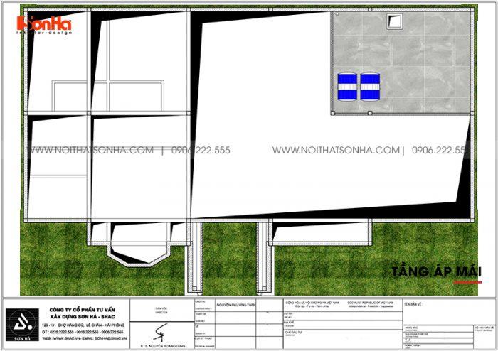 Bản vẽ tầng áp mái biệt thự sân vườn mái thái tại Vĩnh Long