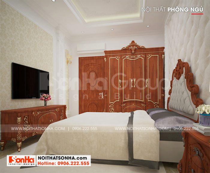 Mẫu phòng ngủ biệt thự phong cách tân cổ điển thiết kế đẹp nhẹ nhàng và ấm cúng