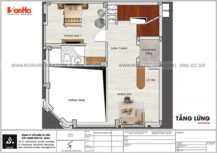 Bản vẽ chi tiết công năng tầng lửng khách sạn tân cổ điển mini 2 sao tại Quảng Ninh