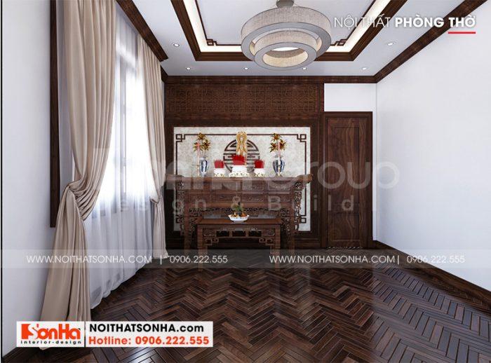 Thiết kế nội thất phòng thờ trang nghiêm dành cho biệt thự cao cấp tại Quảng Ninh