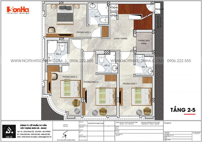 Bản vẽ chi tiết công năng tầng 2 đến tầng 5 khách sạn tân cổ điển mini 2 sao tại Quảng Ninh