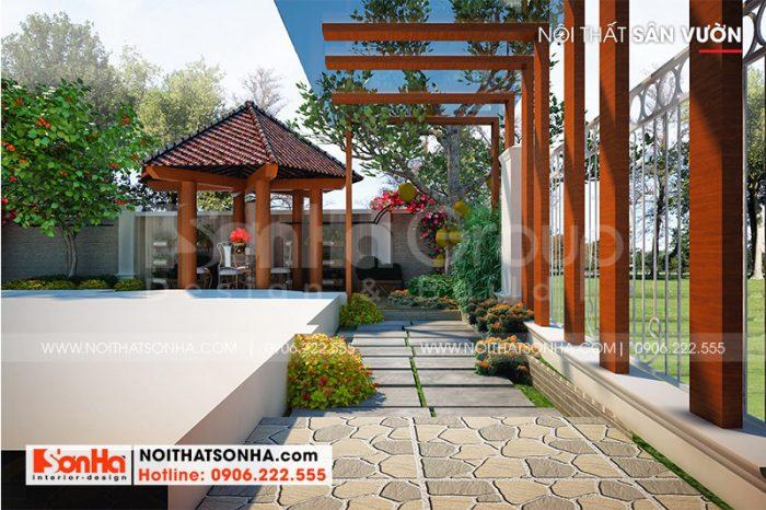 Thiết kế sân vườn rộng thoáng mang đến cho gia chủ không gian thư thái