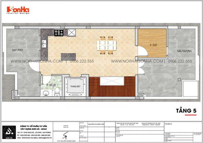 Bản vẽ công năng tầng 5 nhà phố liền kề diện tích 6m x 15,26m tại KĐT Waterfront City Hải Phòng
