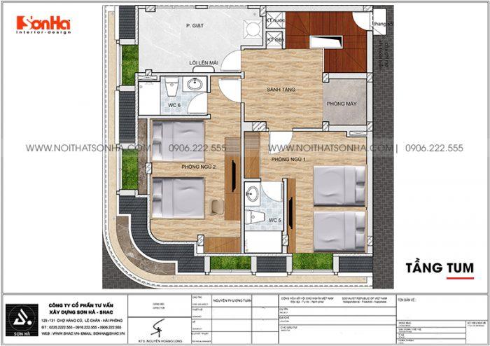 Bản vẽ chi tiết công năng tầng tum khách sạn tân cổ điển mini 2 sao tại Quảng Ninh