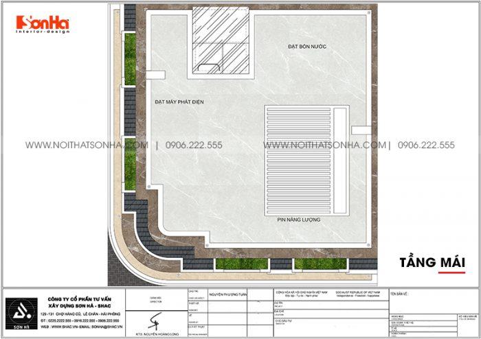 Bản vẽ chi tiết công năng tầng mái khách sạn tân cổ điển mini 2 sao tại Quảng Ninh