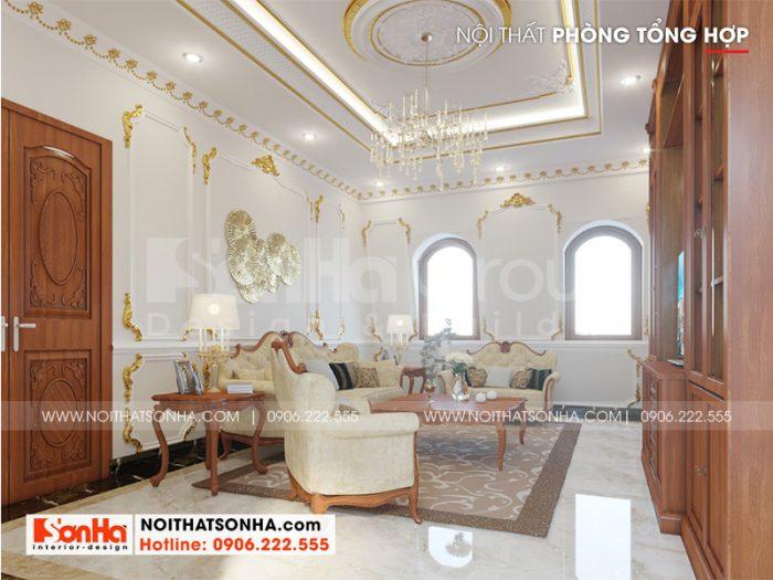 Mẫu thiết kế nội thất phòng tổng hợp mang phong cách tân cổ điển sang trọng