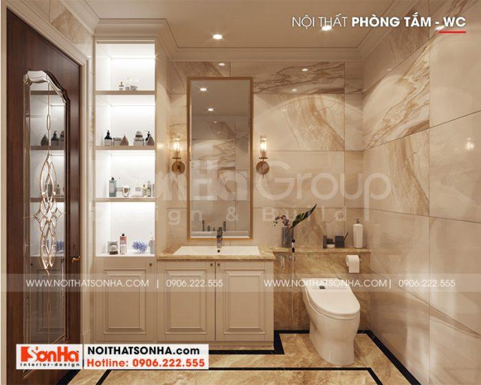 Thiết kế nội thất phòng tắm, nhà vệ sinh biệt thự với vật liệu cao cấp
