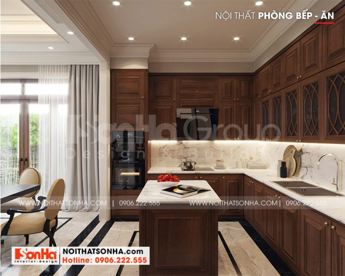 Mẫu thiết kế nội thất phòng bếp biệt thự với nội thất tân cổ điển sang trọng