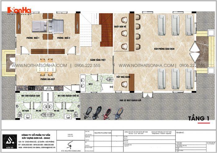 Phương án bố trí công năng tầng 1 biệt thự tân cổ điển kết hợp kinh doanh tại An Giang