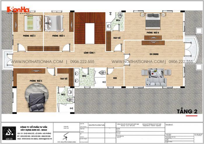Phương án bố trí công năng tầng 2 biệt thự tân cổ điển kết hợp kinh doanh tại An Giang