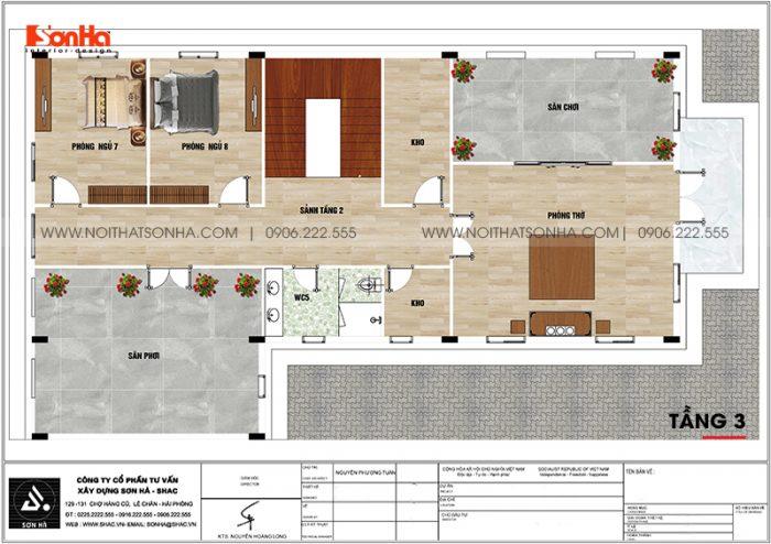 Phương án bố trí công năng tầng 3 biệt thự tân cổ điển kết hợp kinh doanh tại An Giang