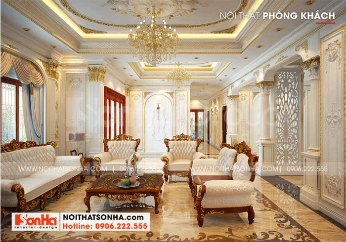 Choáng ngợp với không gian phòng khách được đầu tư thiết kế nội thất cao cấp, màu sắc sang trọng