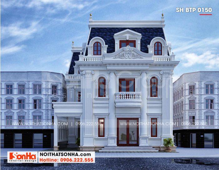 Cận cảnh kiến trúc mặt tiền vuông vắn và rộng rãi của biệt thự phong cách tân cổ điển 3 tầng tại Thị xã Tân Châu đẹp mãn nhãn
