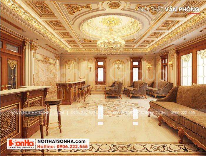 Thiết kế nội thất khu văn phòng sang trọng tại tầng 1 ngôi biệt thự tân cổ điển
