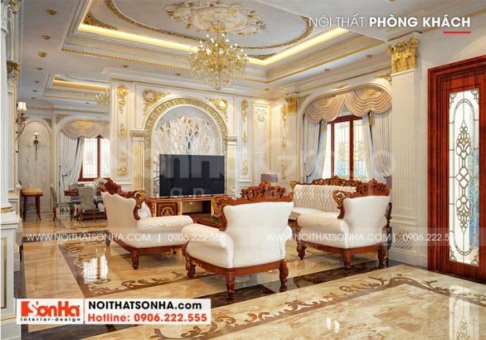 Không gian nội thất phòng khách biệt thự tân cổ điển khiến ai cũng choáng ngợp
