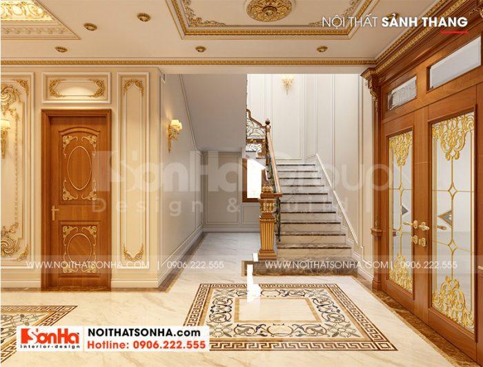 Không gian sảnh thang tầng 1 biệt thự tân cổ điển đẹp được thiết kế tỉ mỉ