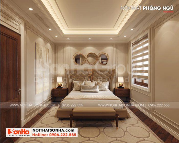 Không gian phòng ngủ master thiết kế đơn giản, nhẹ nhàng theo nguyện vọng của gia chủ
