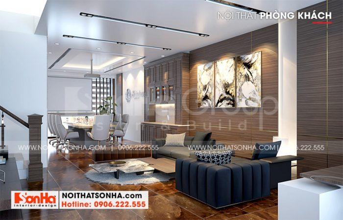 Thiết kế nội thất phòng khách nhà ống hiện đại với sự hài hòa về màu sắc