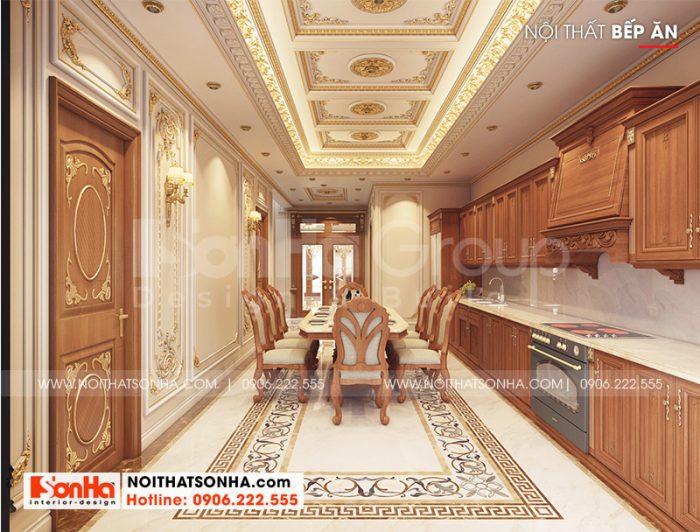 Chiêm ngưỡng không gian phòng bếp ăn biệt thự có thiết kế nội thất đẹp đậm chất tân cổ điển