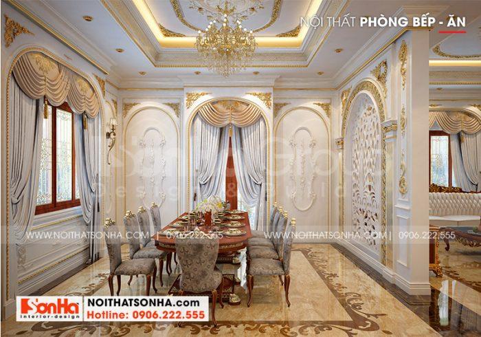 Khu vực phòng ăn đẹp và ấm cúng với thiết kế nội thất sang trọng đồng bộ với cả ngôi nhà