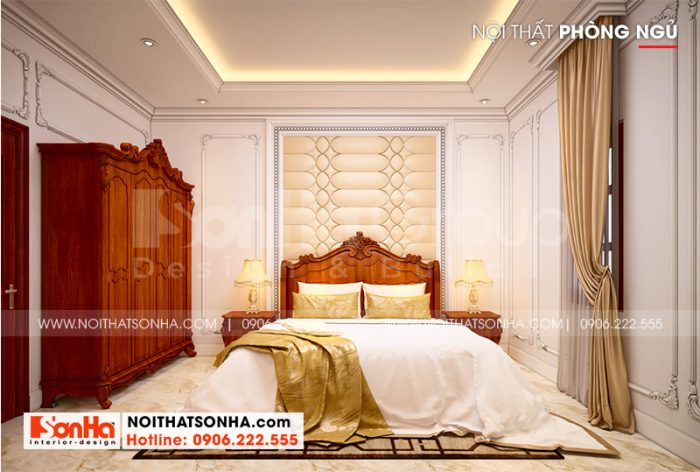 Căn phòng ngủ được KTS Sơn Hà lên phương án bố trí ngăn nắp, khoa học