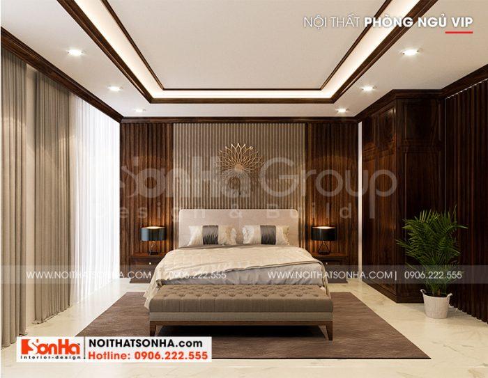 Không gian phòng ngủ master có thiết kế nội thất sang trọng dành cho vợ chồng gia chủ