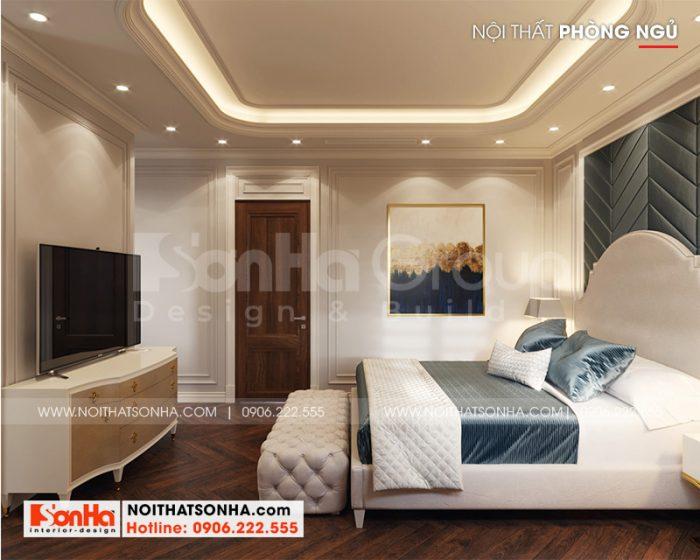 Bố trí nội thất phòng ngủ tân cổ điển ngăn nắp, hài hòa tạo sự thuận tiện cho gia chủ