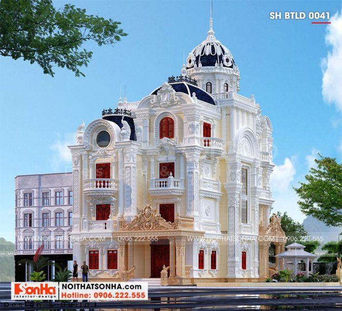 Ngôi biệt thự lâu đài pháp 4 tầng 1 tum tại Long An sở hữu đường nét kiến trúc tinh tế mang vẻ đẹp đầy sức mê hoặc