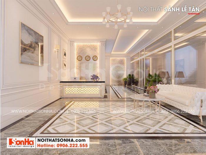 Thiết kế nội thất sảnh lễ tân khách sạn mini 2 tầng phong cách hiện đại