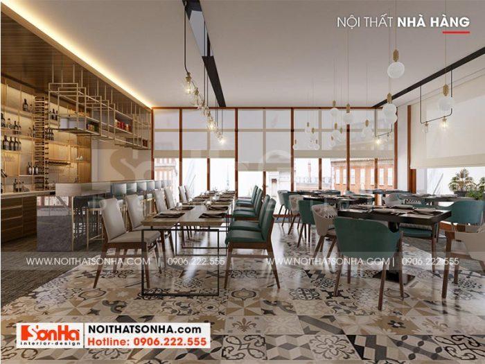 Không gian nhà hàng quy mô lớn được bố trí nội thất phong cách hiện đại đẹp mắt và có chiều sâu