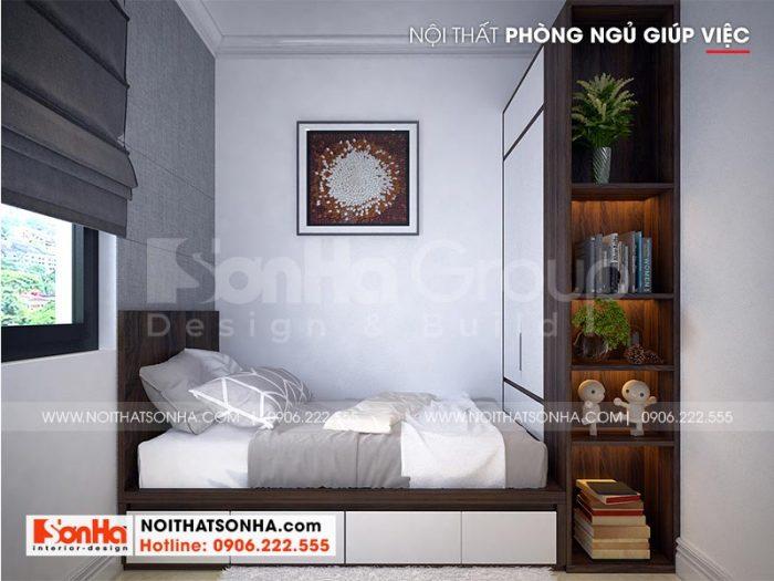 Mẫu thiết kế phòng ngủ giúp việc đẹp tại tầng 1 ngôi biệt thự