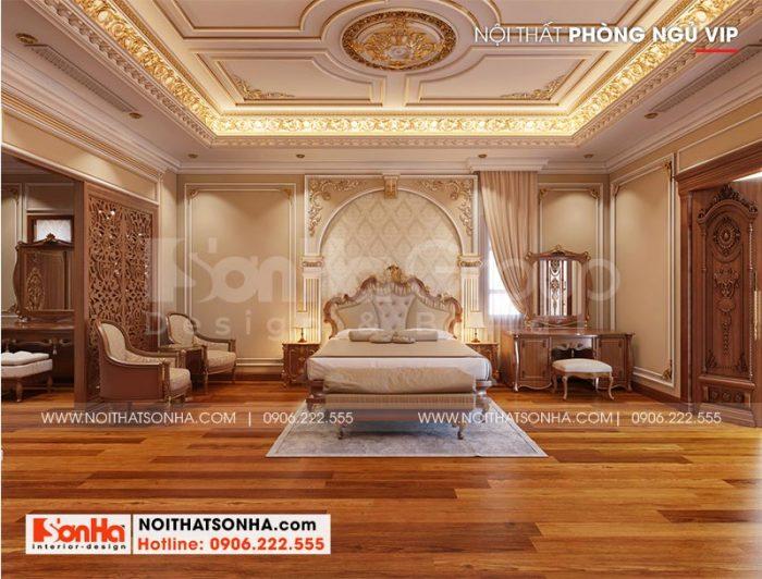 Trang trí nội thất phòng ngủ cổ điển đẹp trong không gian rộng rãi