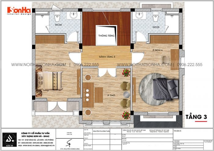 Bản vẽ chi tiết công năng tầng 3 biệt thự tân cổ điển diện tích 144m2 (12m x 12m) tại Vinhomes Imperia Hải Phòng