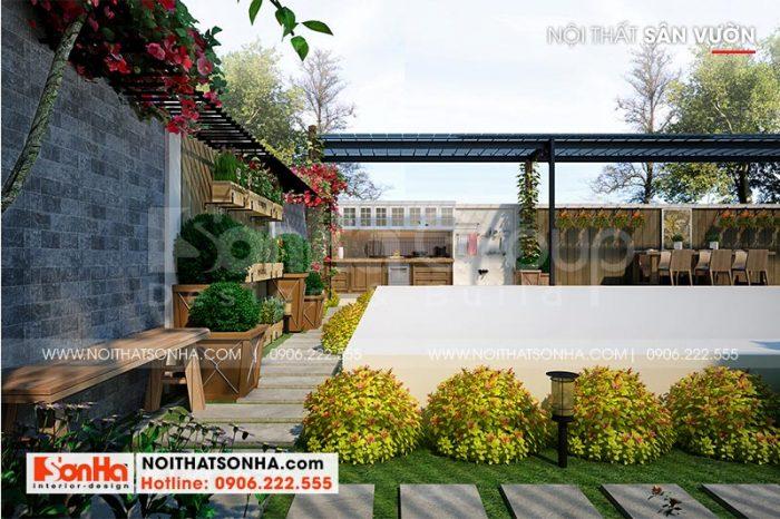 Thiết kế tiểu cảnh sân vườn nhỏ xinh ấn tượng được gia chủ đánh giá cao